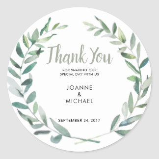 Watercolor olive leaves Wedding Thank You Favor Classic Round Sticker