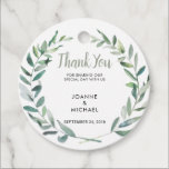 """Watercolor olive leaves Wedding Thank You Favor Tags<br><div class=""""desc"""">Watercolor olive leaves Wedding Thank You Favor Tags. These wedding thank you stickers are the perfect way personalize your wedding favors.  Add your bride and groom names and wedding date and you can change the Thank you text.</div>"""