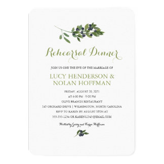 Watercolor Olive Orchard | Rehearsal Dinner Card