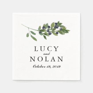 Watercolor Olive Orchard | Wedding Reception Napkin