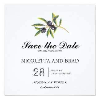 Watercolor Olive Tree Branch   Save the Date Card