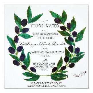 Watercolor Olive Wreath Bridal Shower Invitation