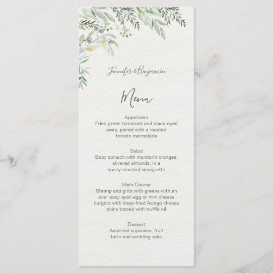 Watercolor Olives and Olive Branches Wedding | Menu
