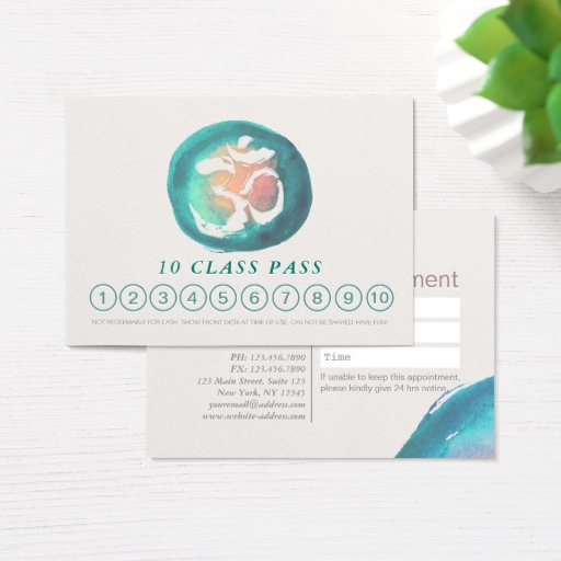 Watercolor Om Sign YOGA 10 Class Pass Appointment Business Card