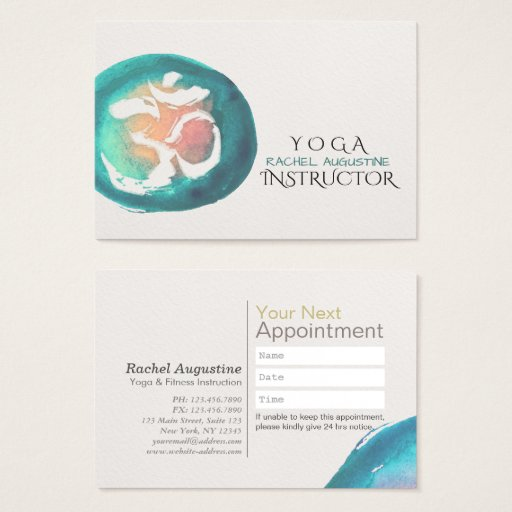 Watercolor Om Symbol YOGA Instructor Appointment Business Card