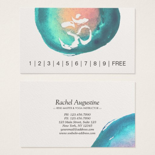 Watercolor Om Symbol YOGA Instructor Loyalty Punch Business Card