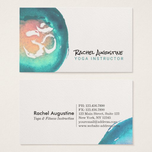 Watercolor Om Symbol Yoga Meditation Instructor Business Card