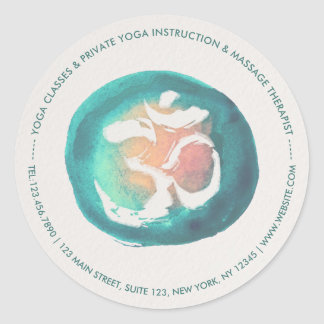 Watercolor Om Symbol YOGA Meditation Instructor Classic Round Sticker