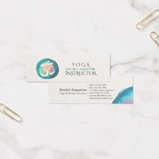 Watercolor Om Symbol Yoga Meditation Instructor Mini Business Card