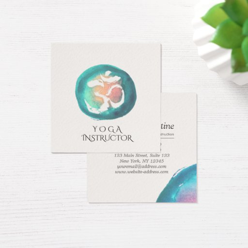 Watercolor Om Symbol Yoga Meditation Instructor Square Business Card
