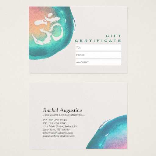 Watercolor OM Symbol YOGA Studio Gift Certificate