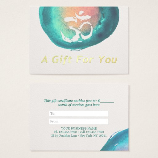 Watercolor OM YOGA Instructor Gift Certificate
