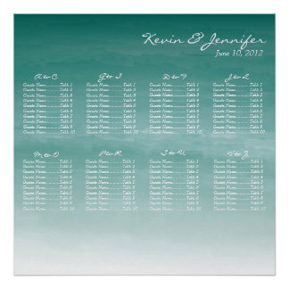 Watercolor Ombre Wedding Seating Chart