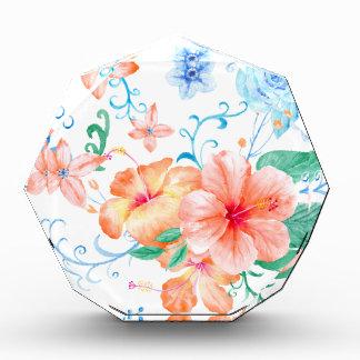 Watercolor Orange and Blue Flower Pattern Acrylic Award