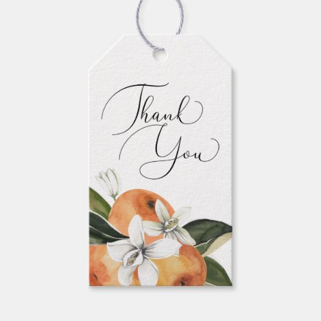 Watercolor Orange Blossom Thank You Gift Tags