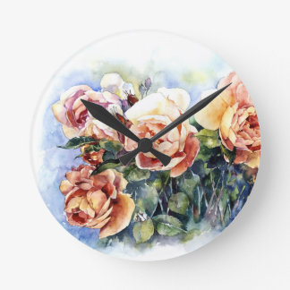 Watercolor orange flowers roses illustration flowe round clock