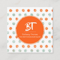 Watercolor Orange & Green Polka Dots Business Card