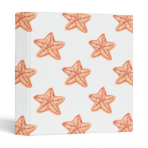 watercolor orange starfish beach design 3 ring binder