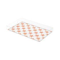 watercolor orange starfish beach design acrylic tray