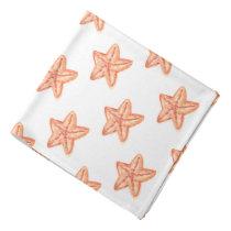 watercolor orange starfish beach design bandana