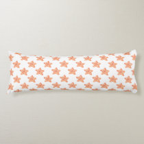 watercolor orange starfish beach design body pillow