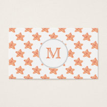 watercolor orange starfish beach design business card