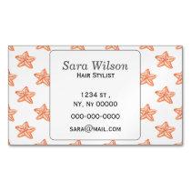 watercolor orange starfish beach design business card magnet