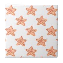 watercolor orange starfish beach design ceramic tile