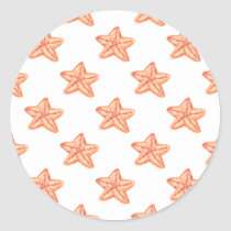 watercolor orange starfish beach design classic round sticker