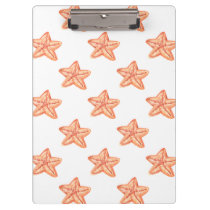 watercolor orange starfish beach design clipboard