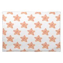 watercolor orange starfish beach design cloth placemat