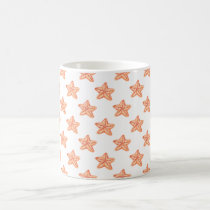 watercolor orange starfish beach design coffee mug