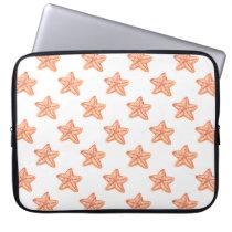 watercolor orange starfish beach design computer sleeve