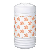 watercolor orange starfish beach design cooler