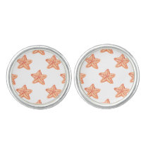 watercolor orange starfish beach design cufflinks