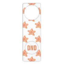 watercolor orange starfish beach design door hanger
