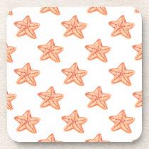 watercolor orange starfish beach design drink coaster