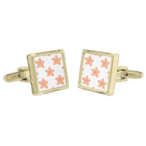 watercolor orange starfish beach design gold cufflinks
