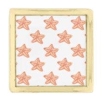 watercolor orange starfish beach design gold finish lapel pin