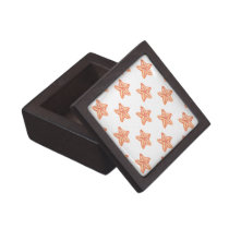 watercolor orange starfish beach design jewelry box