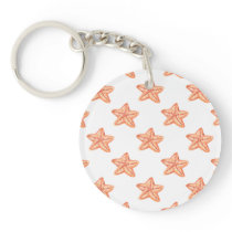 watercolor orange starfish beach design keychain