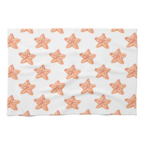 watercolor orange starfish beach design kitchen towel
