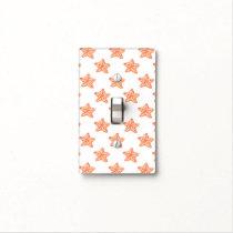 watercolor orange starfish beach design light switch cover