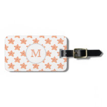 watercolor orange starfish beach design luggage tag