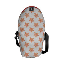 watercolor orange starfish beach design messenger bag