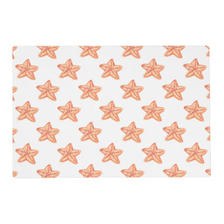 watercolor orange starfish beach design laminated placemat