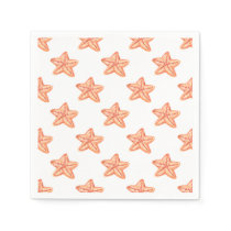 watercolor orange starfish beach design paper napkin
