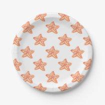 watercolor orange starfish beach design paper plate