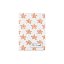 watercolor orange starfish beach design passport holder