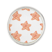 watercolor orange starfish beach design pin